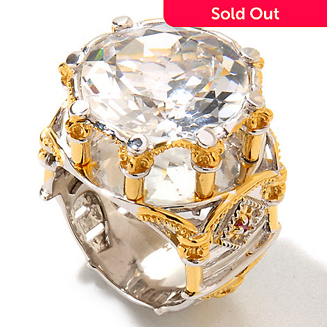 124-868 - Gems en Vogue 8.63ctw Rock Crystal Quartz & Pink Sapphire Ring