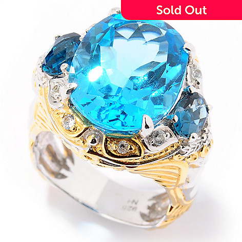 124-872 - Gems en Vogue 12.58ctw Swiss Blue Topaz, London Blue Topaz & Sapphire Ring