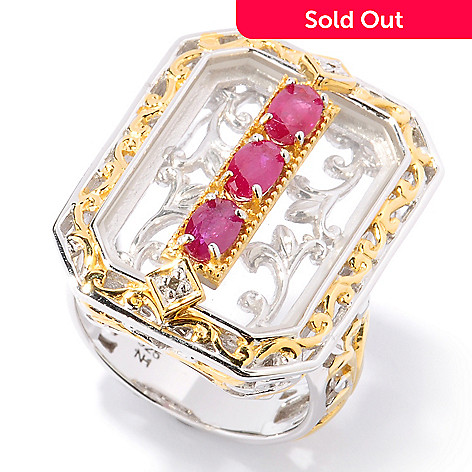 124-874 - Gems en Vogue 20 x 14mm Emerald Cut Rock Crystal Quartz & Ruby Ring