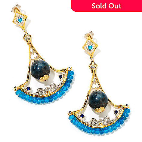 124-878 - Gems en Vogue 35.70ctw Blue Apatite & Sapphire 2.5'' Drop Earrings