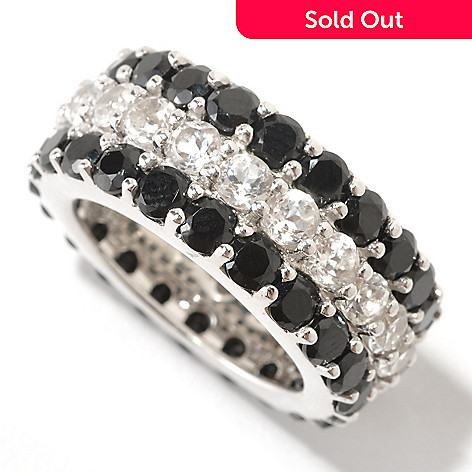 124-885 - Gem Treasures® Sterling Silver Black Spinel & White Topaz Eternity Band Ring