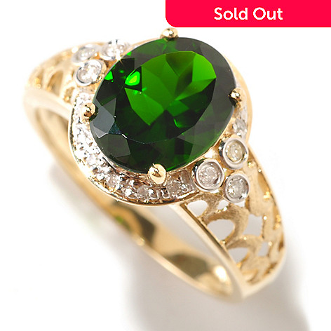 124-886 - Gem Treasures® 14K Gold 3.05ctw Chrome Diopside & Diamond Ring