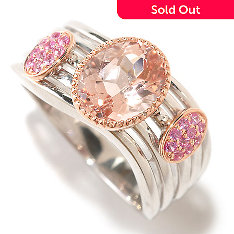 124-889 - Gem Treasures® 2.00ctw Morganite & Pink Sapphire Ring