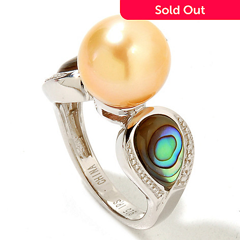 124-893 - Sterling Silver 10-11mm Golden South Sea Cultured Pearl & Abalone Ring
