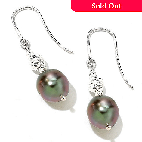 124-897 - Gem Insider Sterling Silver 9-10mm Tahitian Cultured Pearl Dangle Earrings