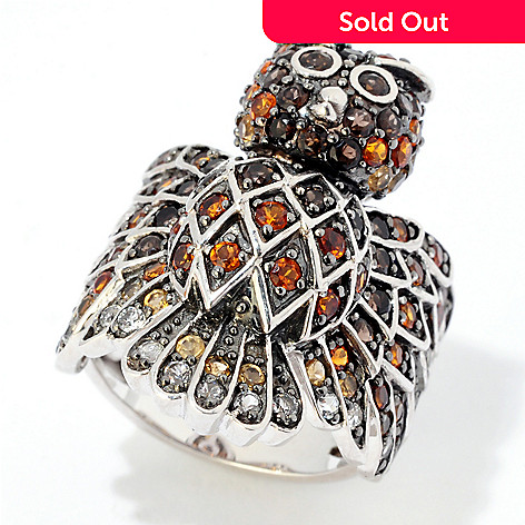 124-902 - NYC II 1.18ctw Multi Gemstone Owl Ring