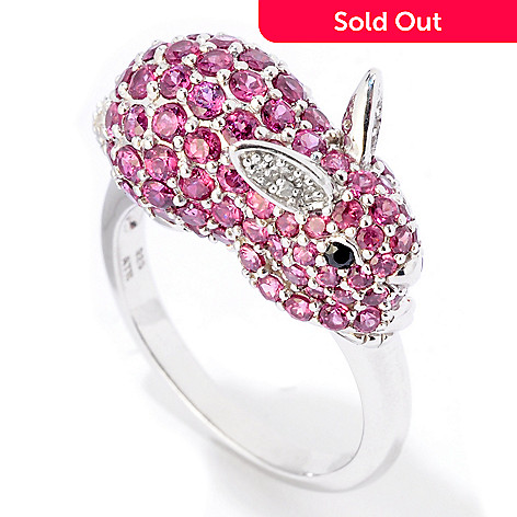124-904 - NYC II™ 2.73ctw Pink Rhodolite, Black Spinel & Diamond Bunny Ring