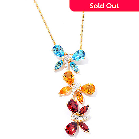 124-906 - NYC II™ 5.97 Multi Gemstone Butterfly Pendant w/ 18'' Chain