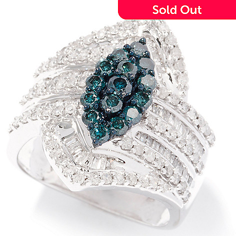 124-910 - Diamond Treasures® 14K White Gold 1.50ctw Blue & White Diamond Marquise Ring