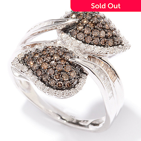 124-912 - Diamond Treasures Sterling Silver 1.00ctw Mocha & White Diamond Leaf Bypass Ring