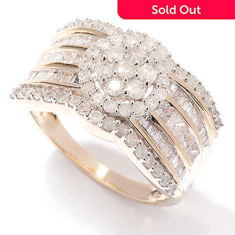 124-913 - Diamond Treasures 14K Gold 1.50ctw Diamond Flower Cluster Band Ring