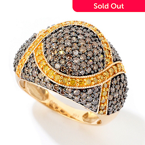 124-919 - Diamond Treasures 14K Gold 2.00ctw Mocha & Yellow Diamond Dome Ring