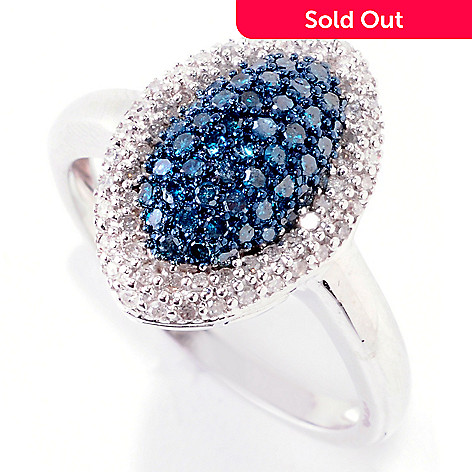 124-922 - Diamond Treasures®  Sterling Silver  0.50ctw Blue &  White Diamond  Marquise Ring