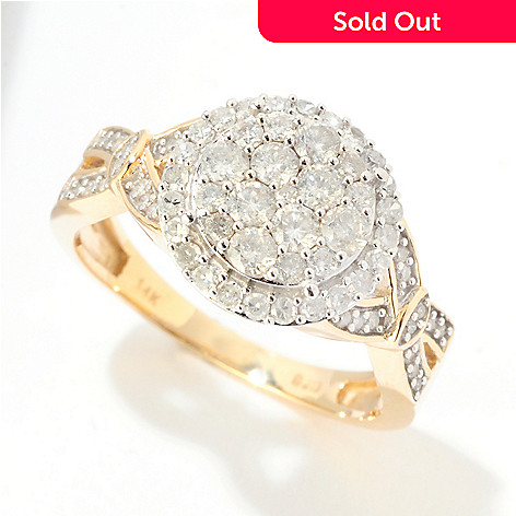 124-924 - Diamond Treasures® 14K Gold 0.85ctw Diamond Pave Circle Ring
