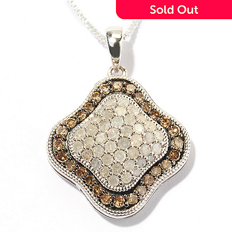 124-925 - Diamond Treasures Sterling Silver 0.98ctw Mocha & White Diamond Pendant w/ Chain