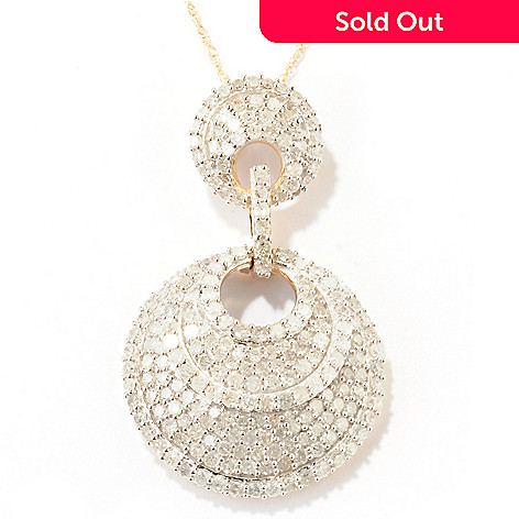 124-927 - Diamond Treasures 14K Gold 2.25ctw Diamond Multi Layer Circle Pendant w/ Chain