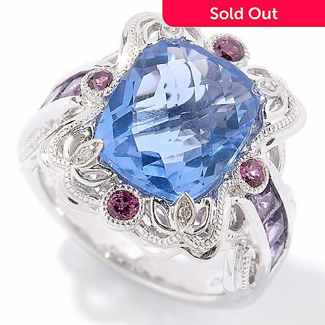 124-930 - Gem Insider™ Sterling Silver 5.79ctw Color Change Fluorite & Multi Gem Ring
