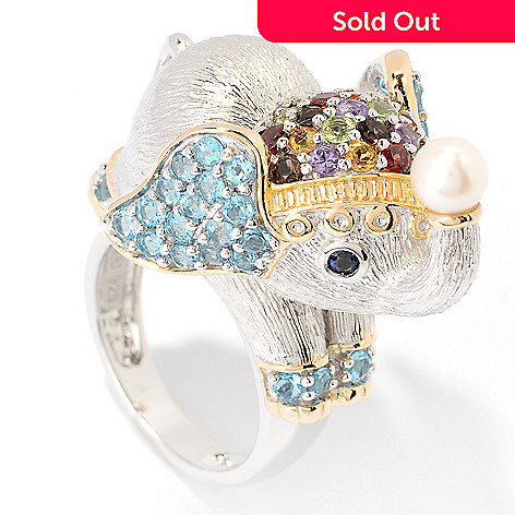 124-932 - Gem Treasures® 1.95ctw Multi Gemstone Elephant Ring