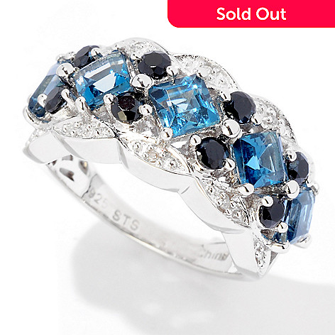 124-938 - NYC II™ 2.44ctw London Blue Topaz, Black Spinel & Diamond Ring