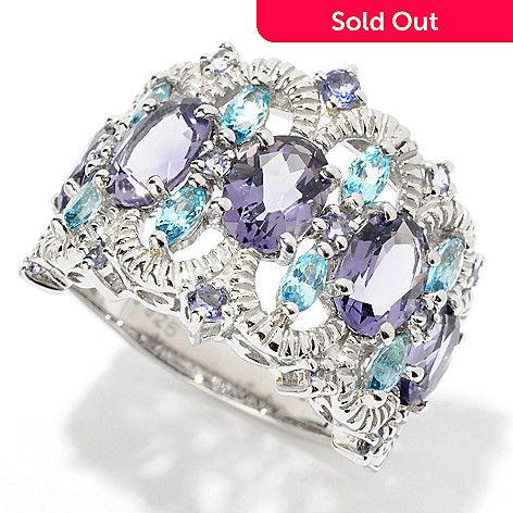 124-940 - NYC II™ 3.10ctw Iolite, Blue Amethyst & Swiss Blue Topaz Band Ring
