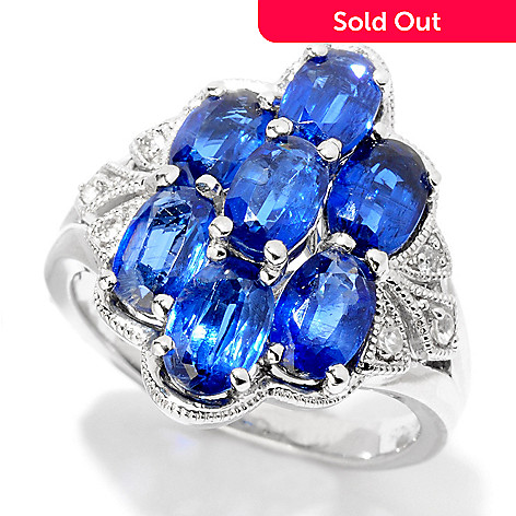 124-942 - NYC II™ 3.82ctw Blue Kyanite & White Zircon Ring