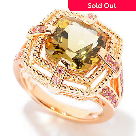 124-943 - NYC II® 3.59ctw Olive Quartz & Pink Tourmaline Ring