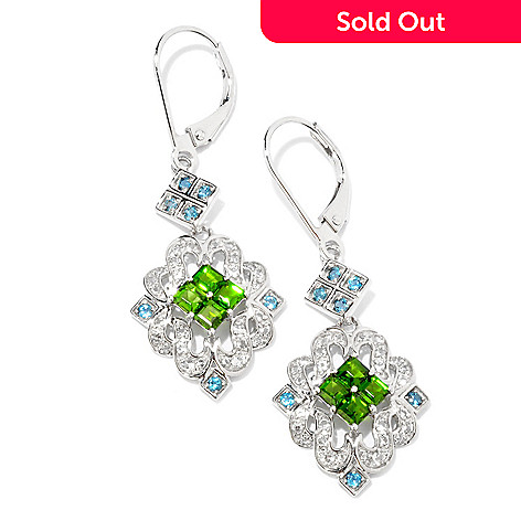 124-944 - NYC II™ 1.88ctw Chrome Diopside & London Blue Topaz Drop Earrings