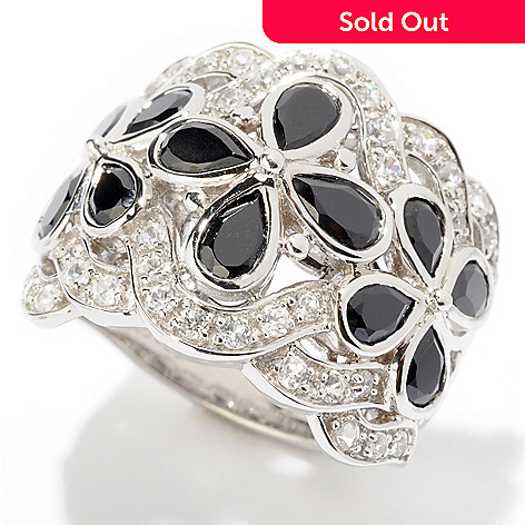 124-946 - NYC II™ 2.64ctw Black Spinel & White Zircon Wide Band Ring