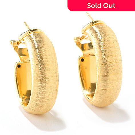 124-957 - Portofino Gold Embraced™ Brushed Hoop Earrings w/ Omega Backs