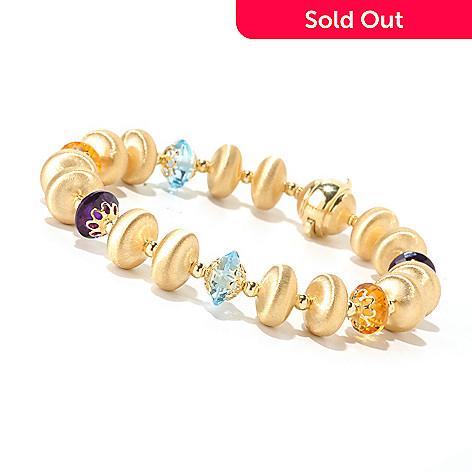 124-963 - Viale18K® Italian Gold 8'' Multi Gemstone Bracelet