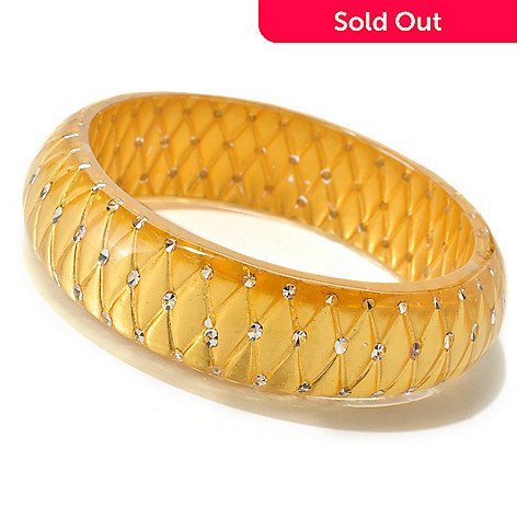 124-969 - Italian Designs with Stefano 24K ''Oro Puro'' Gold Foil Resin Crystal Accent Bangle Bracelet