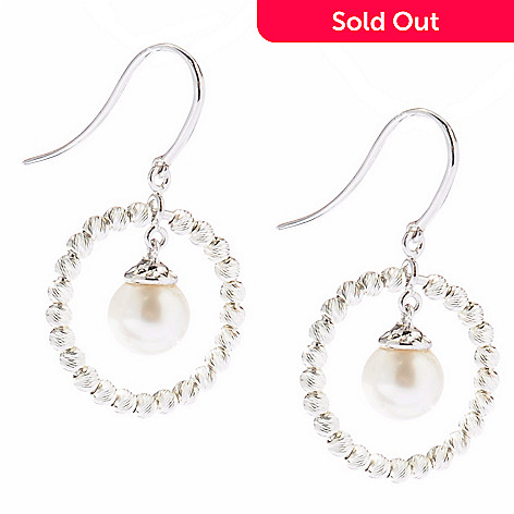 124-999 - Gem Insider® Sterling Silver 7.5-8.0mm Freshwater Cultured Pearl Circle Earrings