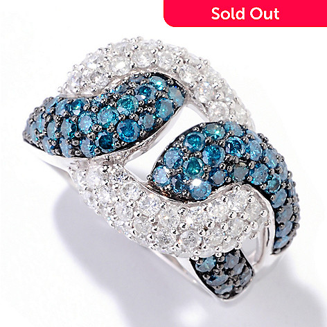 125-004 - Kallati Designs 14K White Gold 2.23ctw Blue & White Diamond Knot Design Ring
