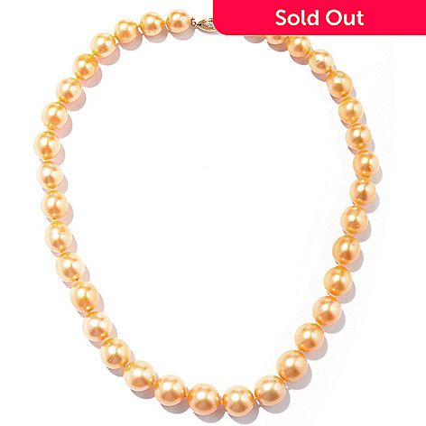 125-020 - 14K Gold 18'' 10-13mm Golden South Sea Cultured Pearl Necklace