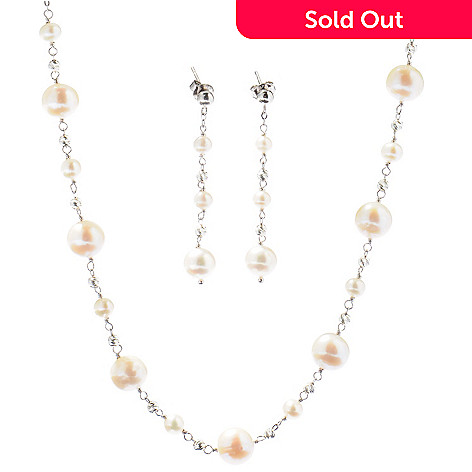 125-021 - Gem Insider Sterling Silver 18'' Cultured Pearl Necklace & Earring Set