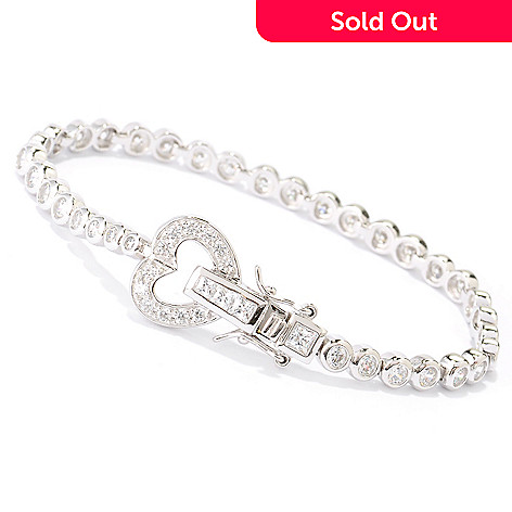125-027 - Brilliante® Platinum Embraced™ Simulated Diamond Heart Clasp Tennis Bracelet
