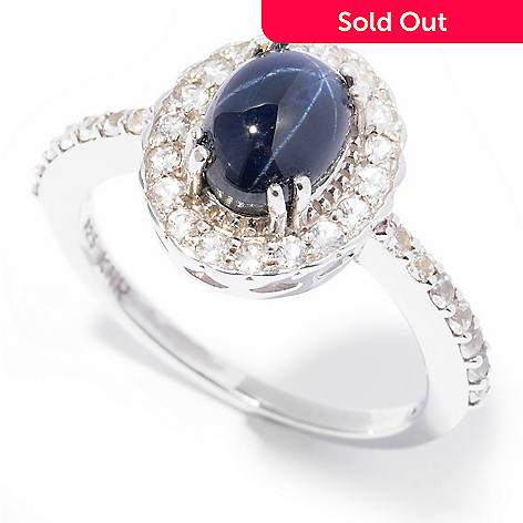125-031 - Gem Insider™ Sterling Silver Blue Star Sapphire & White Sapphire Halo Ring