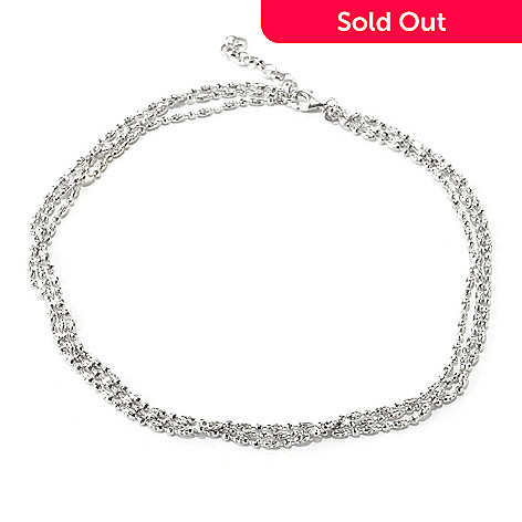 125-033 - Palatino™ Platinum Embraced™ 18'' Multi Strand Diamond Cut Necklace