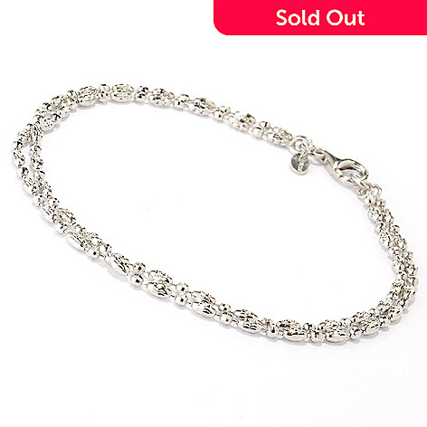 125-034 - Palatino™ Platinum Embraced™ Dual Strand Anklet