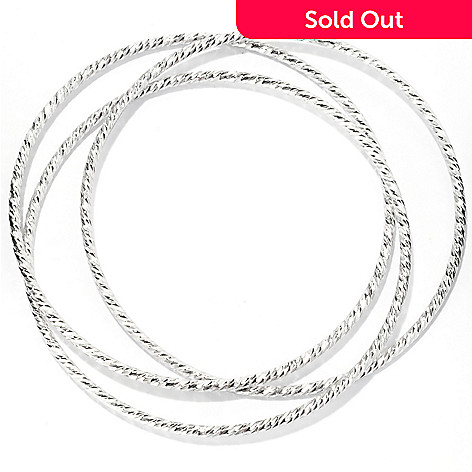 125-042 - Palatino™ Platinum Embraced™ Set of Three Diamond Cut Slip-on Bangle Bracelet