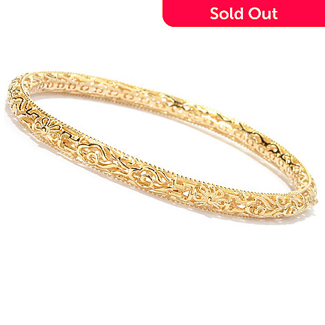 125-047 - Jaipur Jewelry Bazaar™ Gold Embraced™ 8'' Textured Slip-on Bangle Bracelet