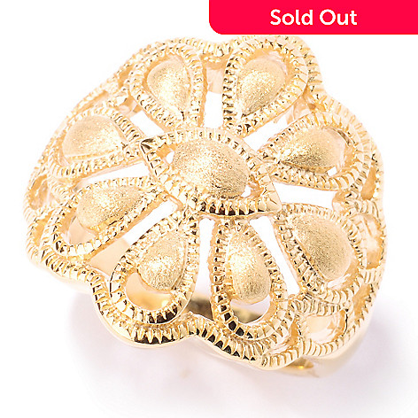 125-049 - Jaipur Jewelry Bazaar™ Gold Embraced™ Polished & Matte Flower Ring
