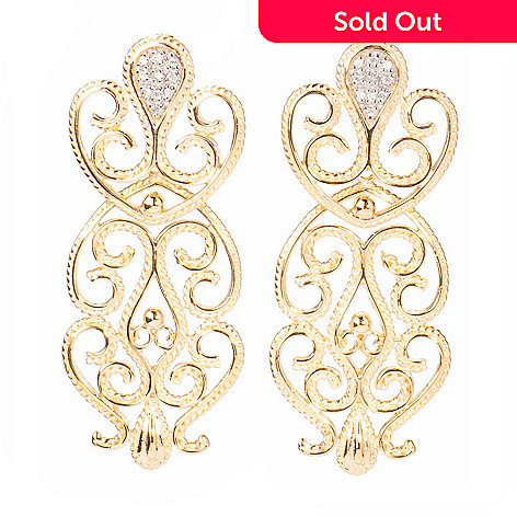 125-050 - Jaipur Bazaar Gold Embraced™ Diamond Accented Filigree Drop Earrings
