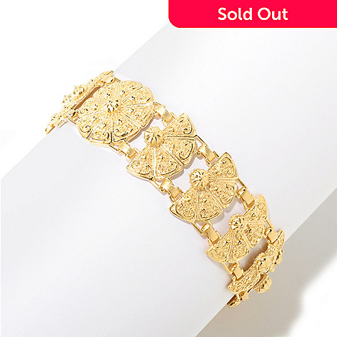 125-053 - Jaipur Jewelry Bazaar™ Gold Embraced™ 7.25'' Textured Temple Link Bracelet