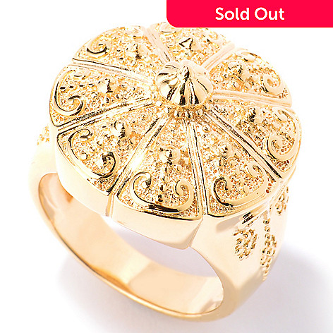 125-054 - Jaipur Jewelry Bazaar™ Gold Embraced™ Polished & Textured Temple Ring