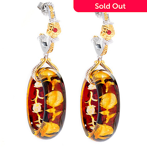 125-057 - Gems en Vogue 20mm Carved Amber Intaglio & Orange Sapphire Hoop Drop Earrings
