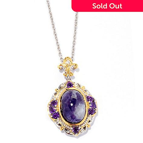 125-060 - Gems en Vogue 14 x 10mm Violet Opal, Amethyst & Sapphire Pendant w/ 18'' Chain