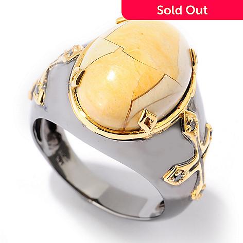 125-061 - Men's en Vogue Brecciated Mookaite & Black Diamond Polished Cross Ring