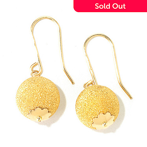 125-062 - Viale18K® Italian Gold 1'' Dangling Ball Earrings