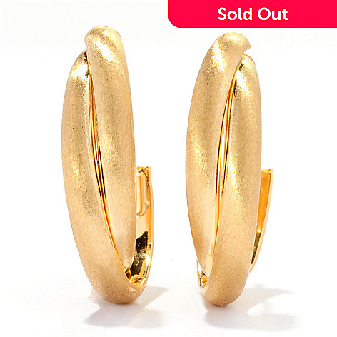 125-063 - Viale18K® Italian Gold Satin Finished Oval Hoop Earrings